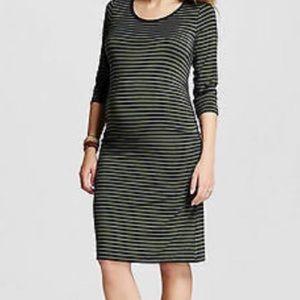 Liz Lange Maternity Olive & Navy Striped Dress